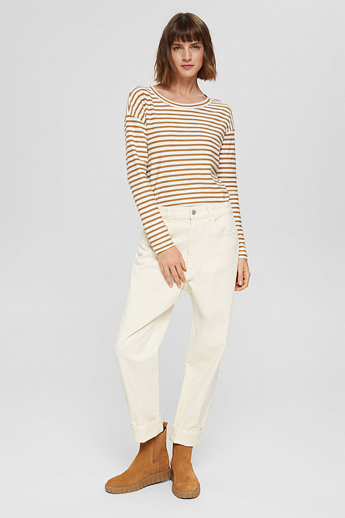 T-shirt rayé à manches longues, 100% coton biologique, CAMEL, detail image number 5