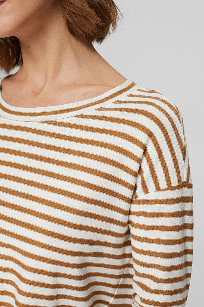 T-shirt rayé à manches longues, 100% coton biologique, CAMEL, detail image number 2