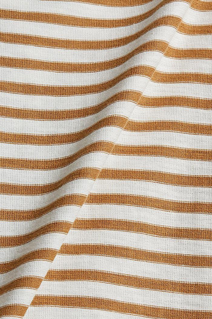 T-shirt rayé à manches longues, 100% coton biologique, CAMEL, detail image number 4