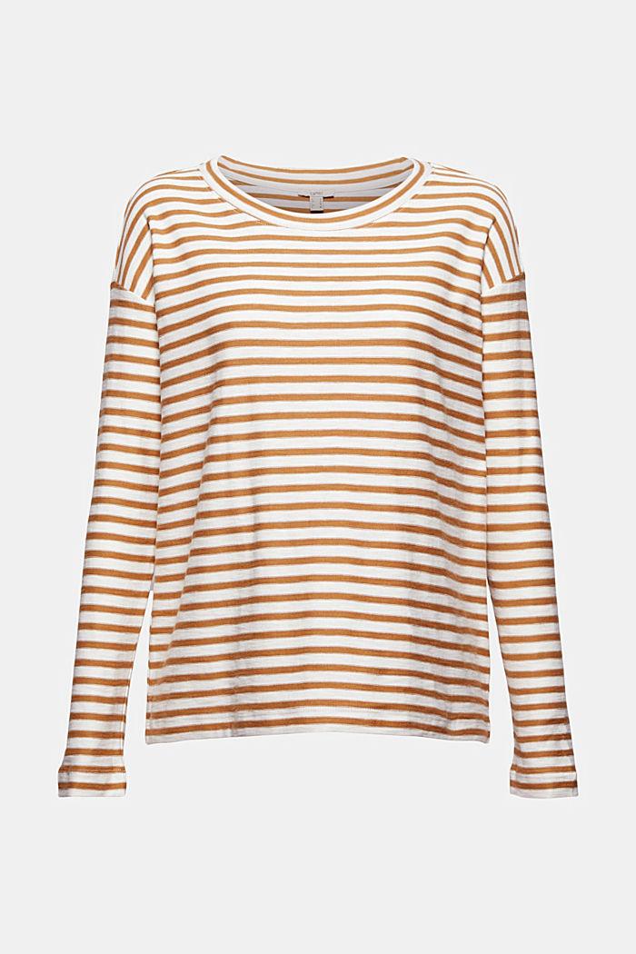 T-shirt rayé à manches longues, 100% coton biologique, CAMEL, detail image number 6