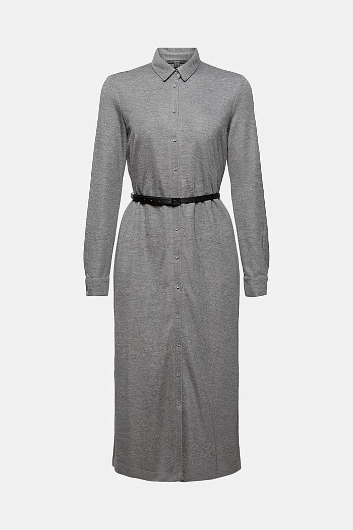 Hemdblusenkleid aus Jersey mit Gürtel