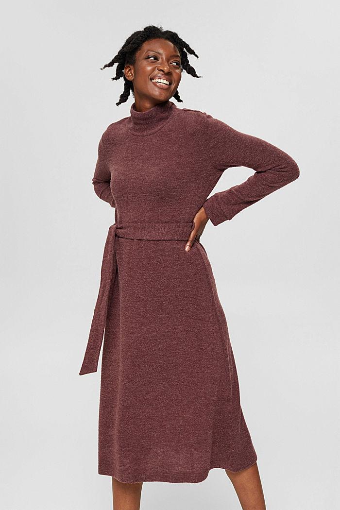 Gerecycled: gebreide jurk met ceintuur, BORDEAUX RED, detail image number 4