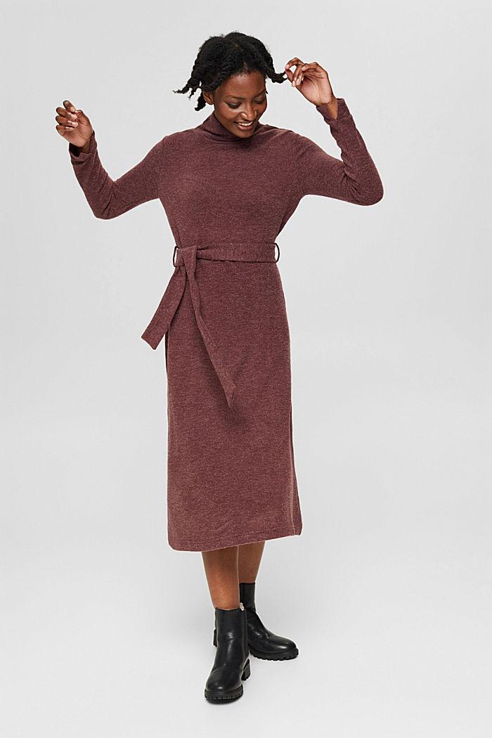 Gerecycled: gebreide jurk met ceintuur, BORDEAUX RED, detail image number 7