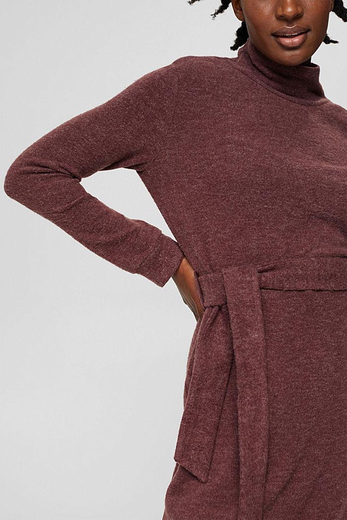 Gerecycled: gebreide jurk met ceintuur, BORDEAUX RED, detail image number 3