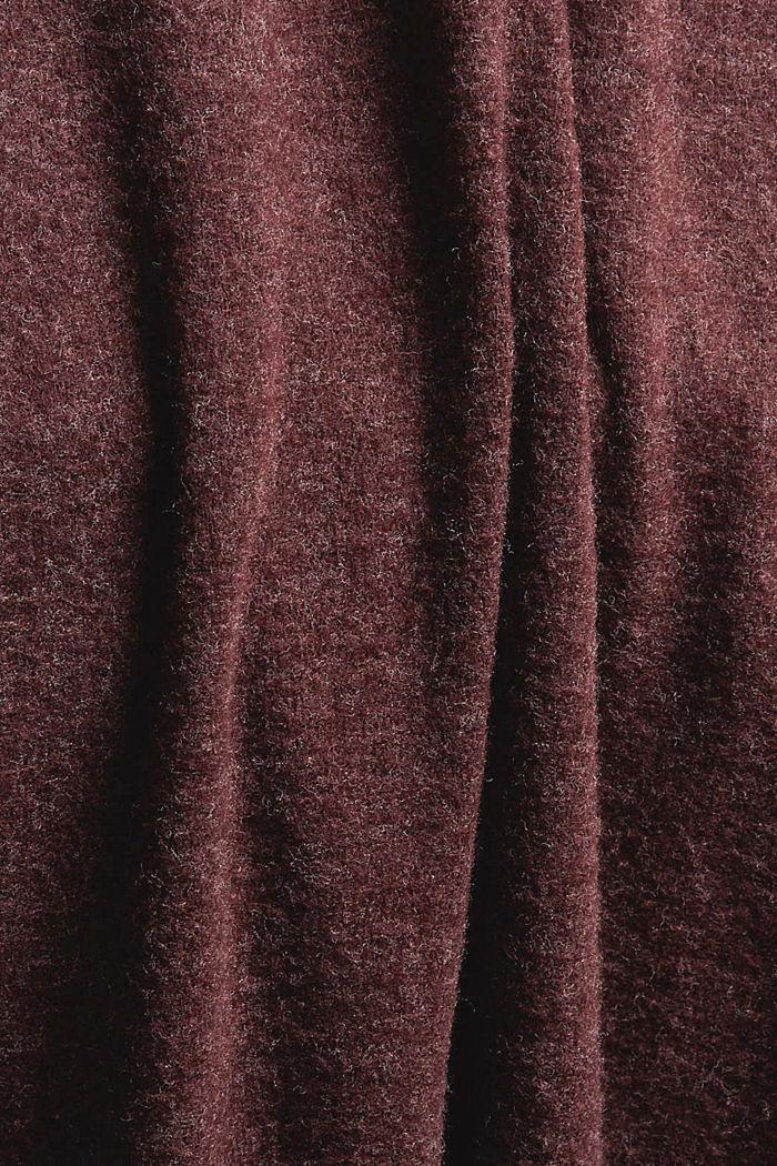 Gerecycled: gebreide jurk met ceintuur, BORDEAUX RED, detail image number 5