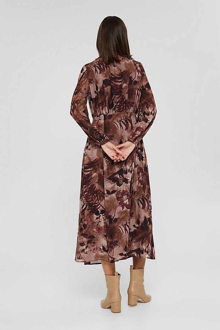 En matière recyclée: robe mi-longue en mousseline imprimée, OLD PINK, detail image number 2