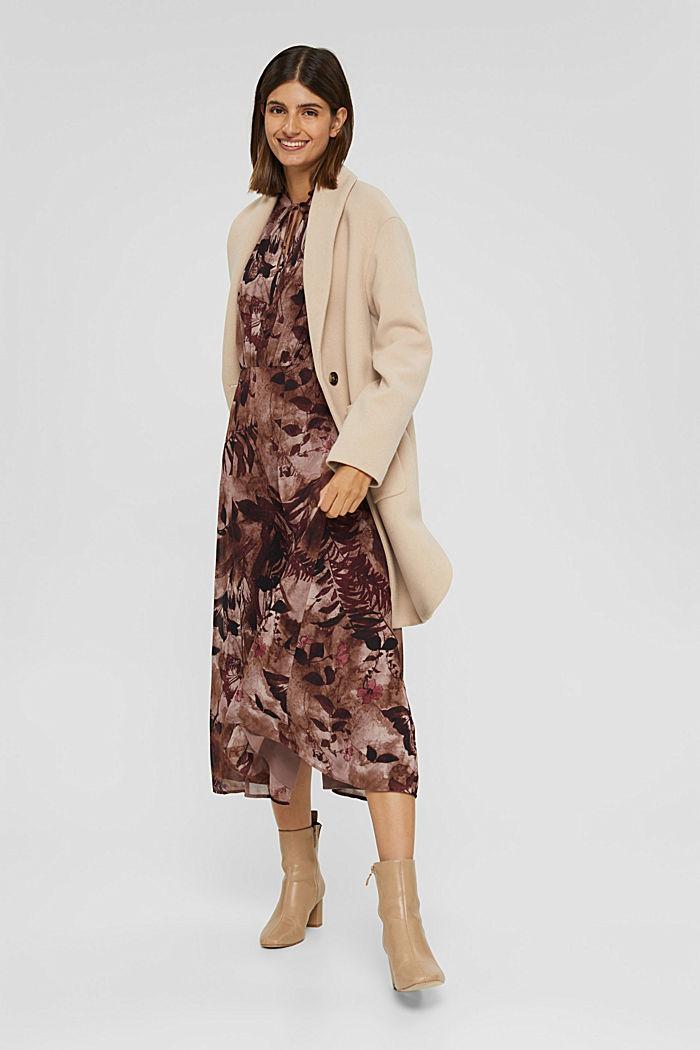 En matière recyclée: robe mi-longue en mousseline imprimée, OLD PINK, detail image number 1