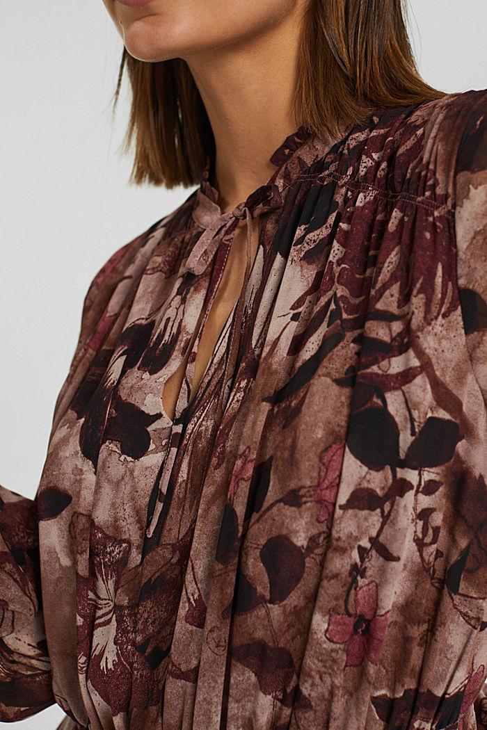 En matière recyclée: robe mi-longue en mousseline imprimée, OLD PINK, detail image number 3