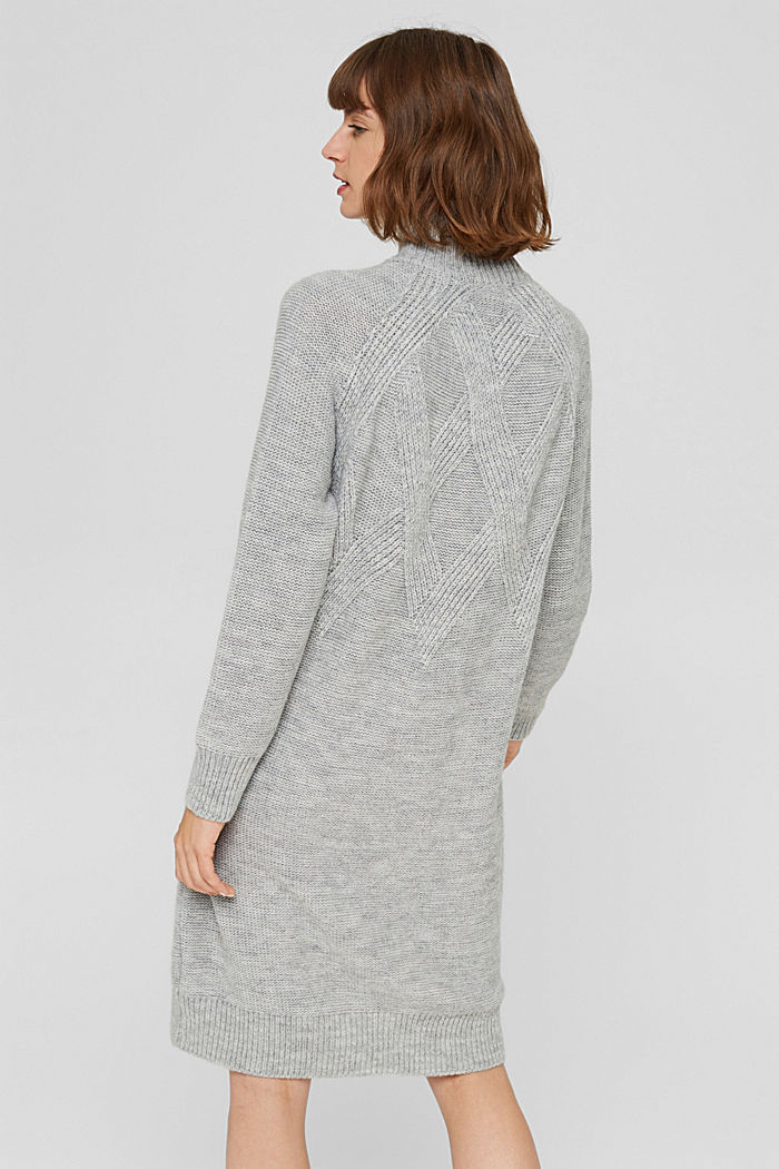 À teneur en laine/alpaga: robe en maille à col droit, LIGHT GREY, detail image number 2