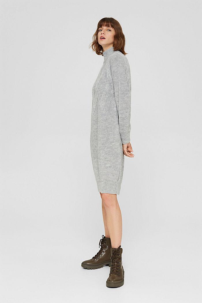 À teneur en laine/alpaga: robe en maille à col droit, LIGHT GREY, detail image number 4