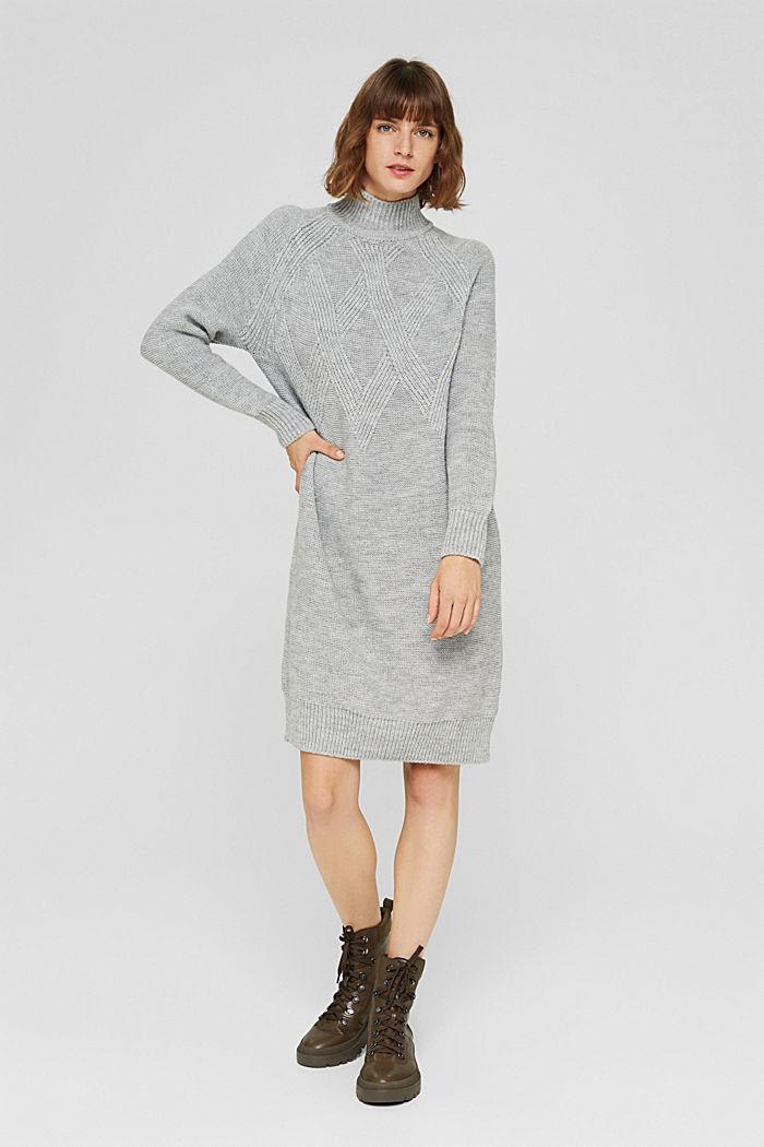 À teneur en laine/alpaga: robe en maille à col droit, LIGHT GREY, detail image number 6