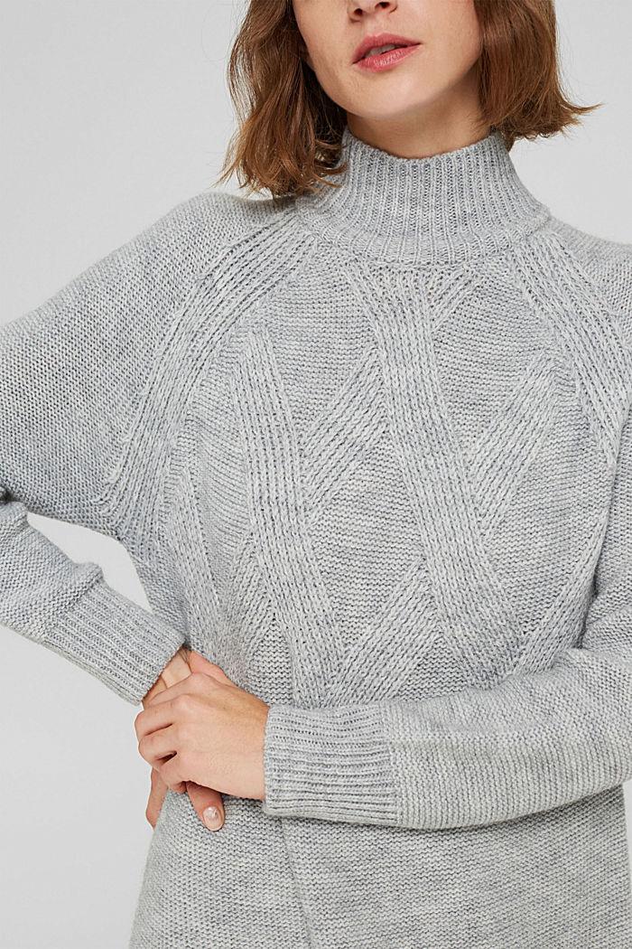 À teneur en laine/alpaga: robe en maille à col droit, LIGHT GREY, detail image number 3