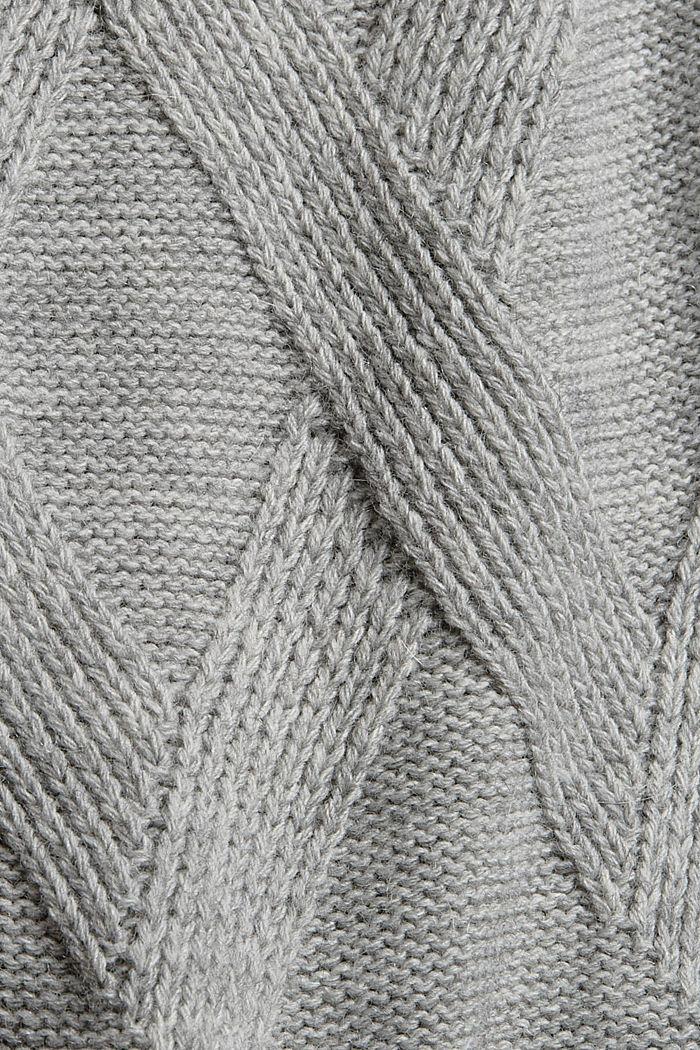 À teneur en laine/alpaga: robe en maille à col droit, LIGHT GREY, detail image number 5