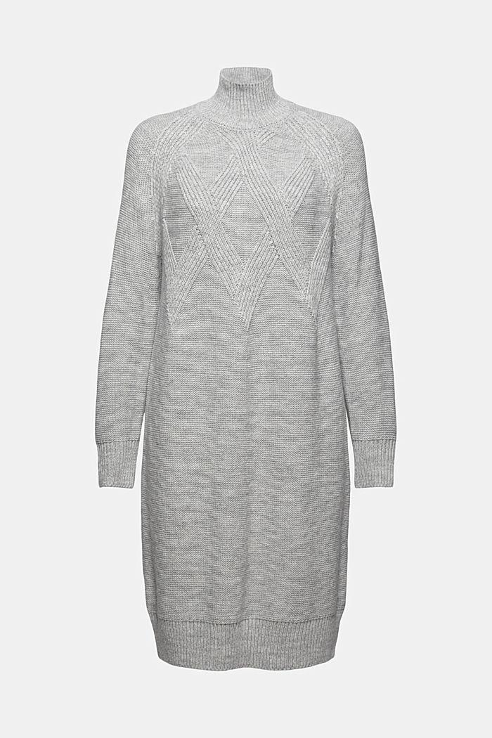 Med ull/alpacka: stickad klänning med ståkrage