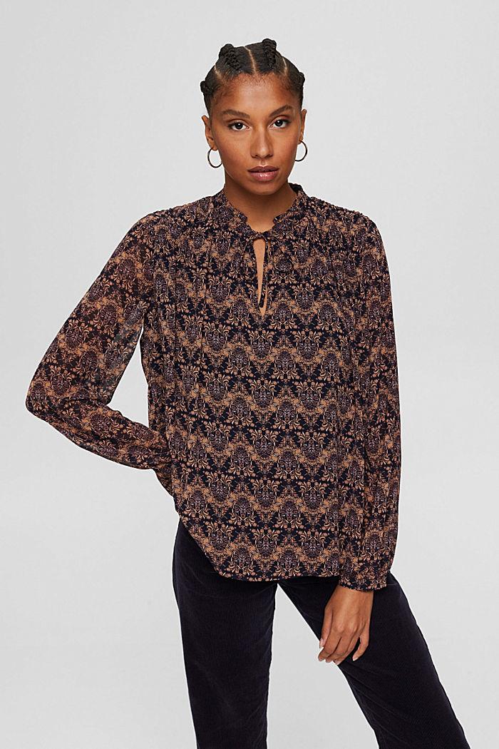 Reciclada: blusa de gasa con estampado de flores, KHAKI BEIGE, detail image number 0