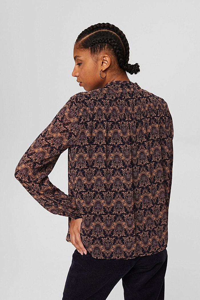 Reciclada: blusa de gasa con estampado de flores, KHAKI BEIGE, detail image number 3
