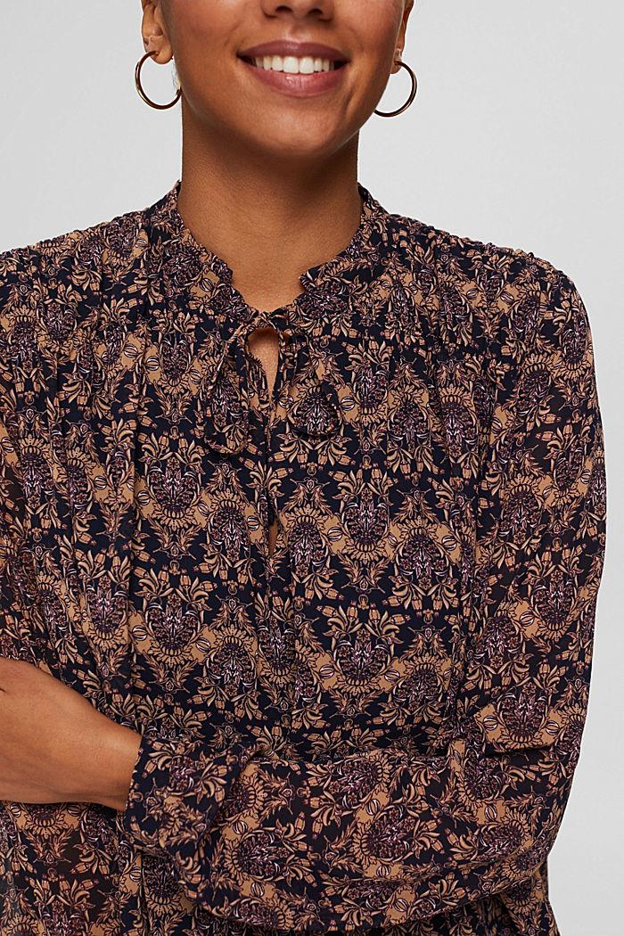 Reciclada: blusa de gasa con estampado de flores, KHAKI BEIGE, detail image number 2