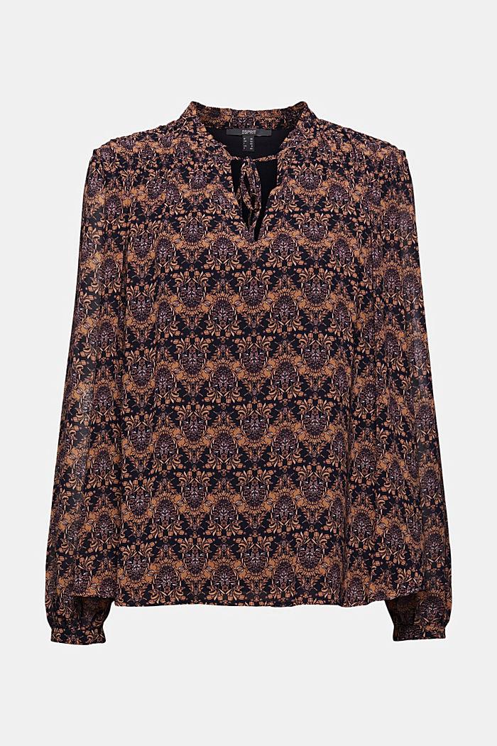 Reciclada: blusa de gasa con estampado de flores, KHAKI BEIGE, detail image number 7