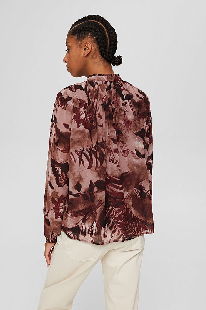 Gerecycled: chiffon blouse met bloemenprint, OLD PINK, detail image number 3
