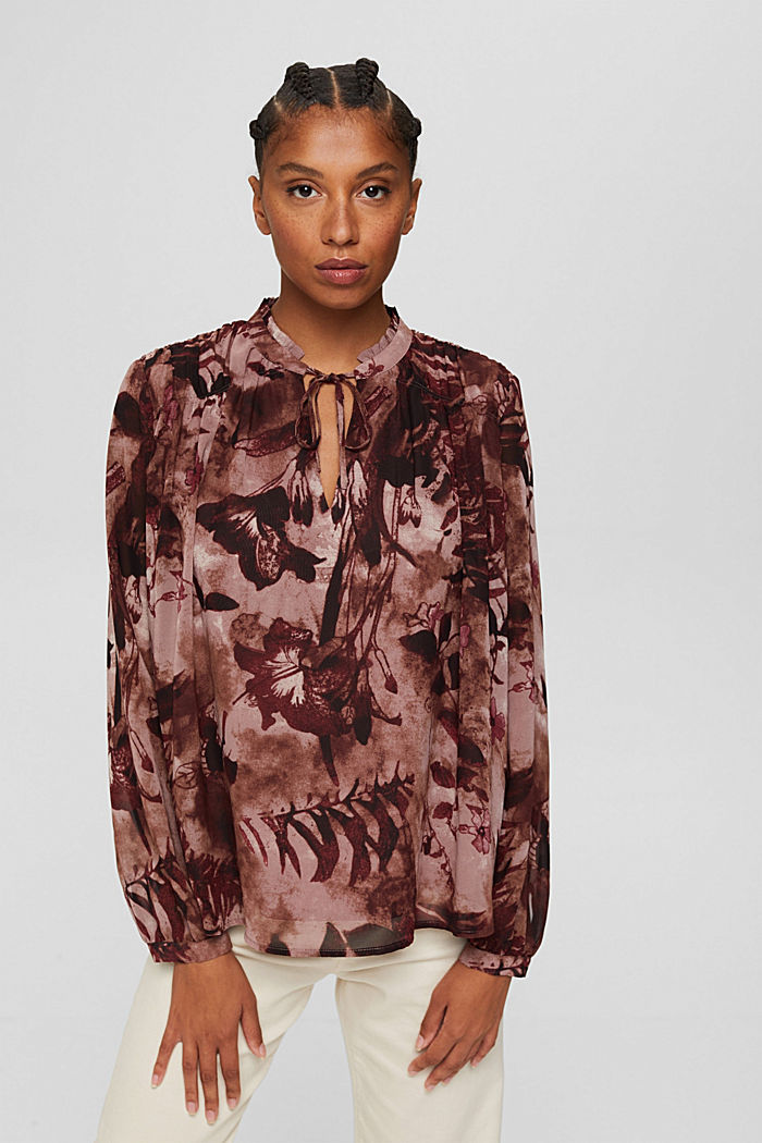 Gerecycled: chiffon blouse met bloemenprint, OLD PINK, detail image number 5