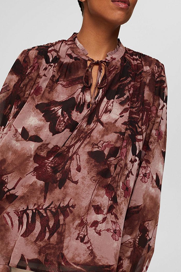 Gerecycled: chiffon blouse met bloemenprint, OLD PINK, detail image number 2