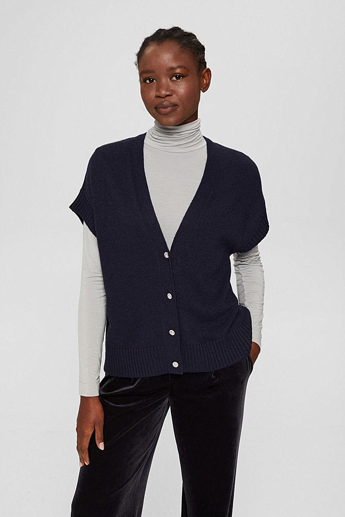 À teneur en laine et en cachemire:le gilet en maille, NAVY, detail image number 0