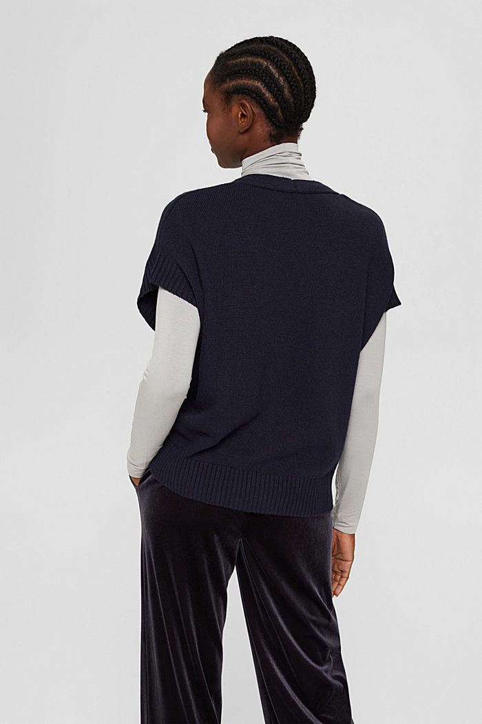 À teneur en laine et en cachemire:le gilet en maille, NAVY, detail image number 3