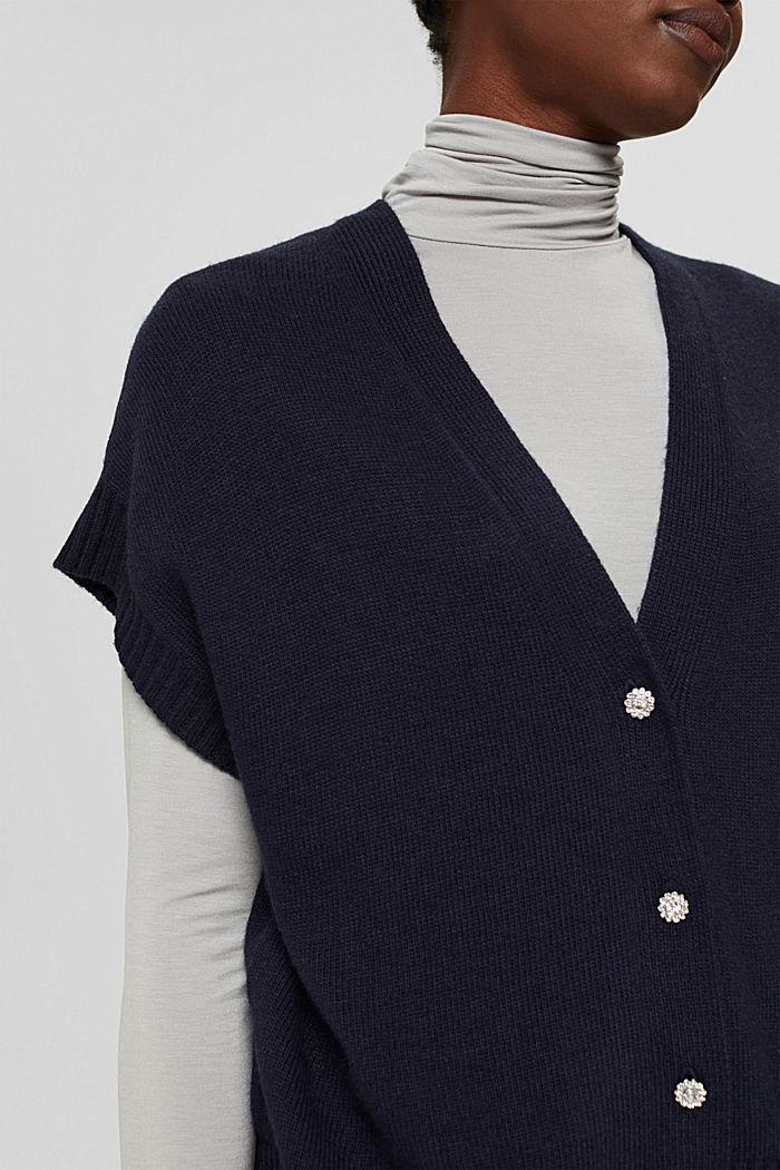 À teneur en laine et en cachemire:le gilet en maille, NAVY, detail image number 2
