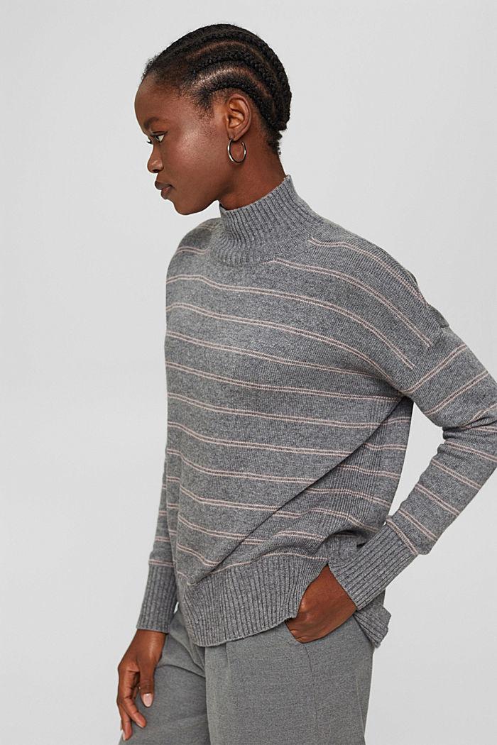 Med uld/kashmir: Pullover med høj krave