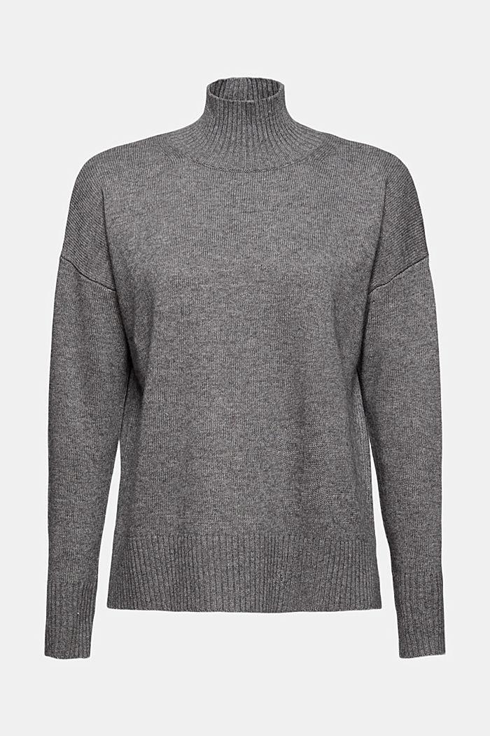 Con lana/cashmere: pullover con collo a listino