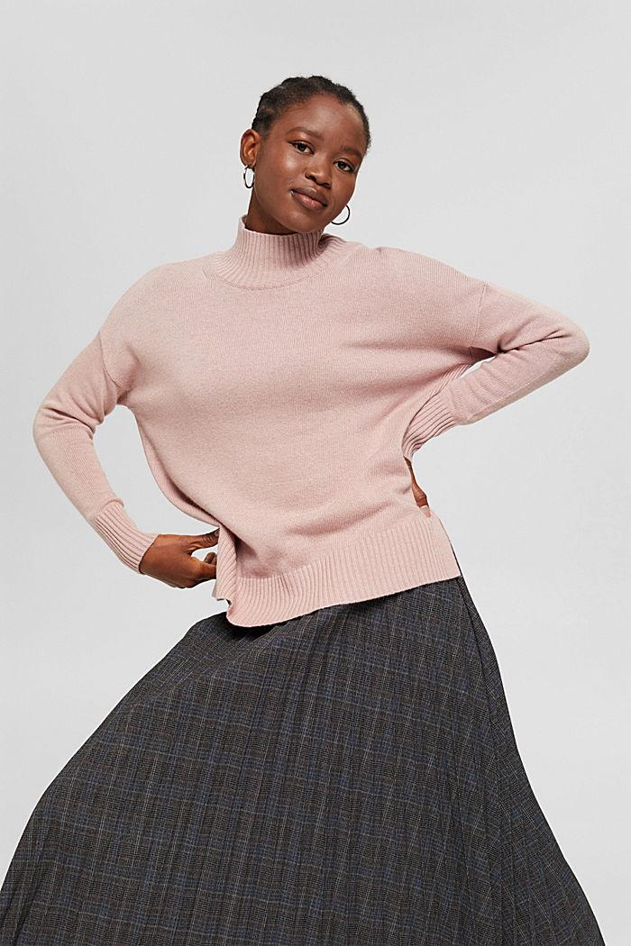 Med ull/kaschmir: tröja med ståkrage