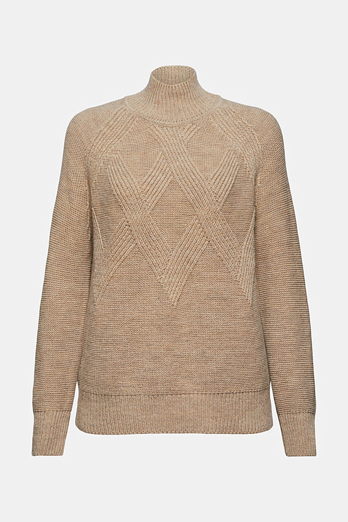 Med ull/alpacka: tröja med ståkrage