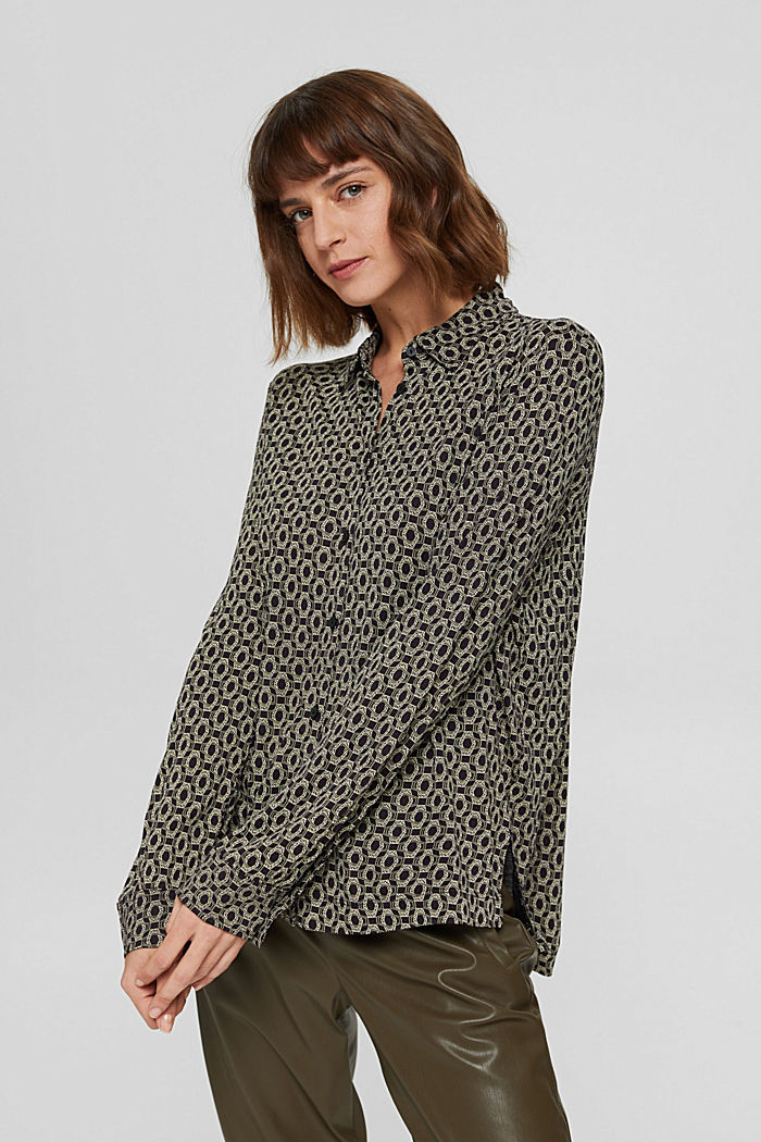 Longsleeve in een blouseachtige look, LENZING™ ECOVERO™, BLACK, detail image number 0