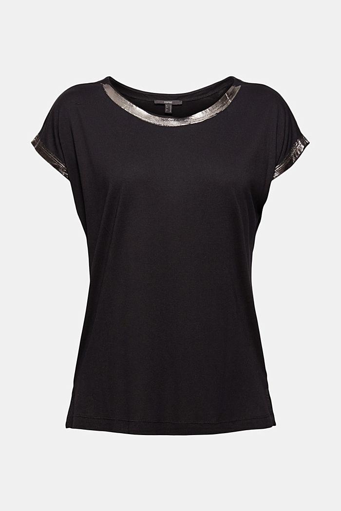 T-shirt à effets métallisés, LENZING™ ECOVERO™, BLACK, detail image number 6
