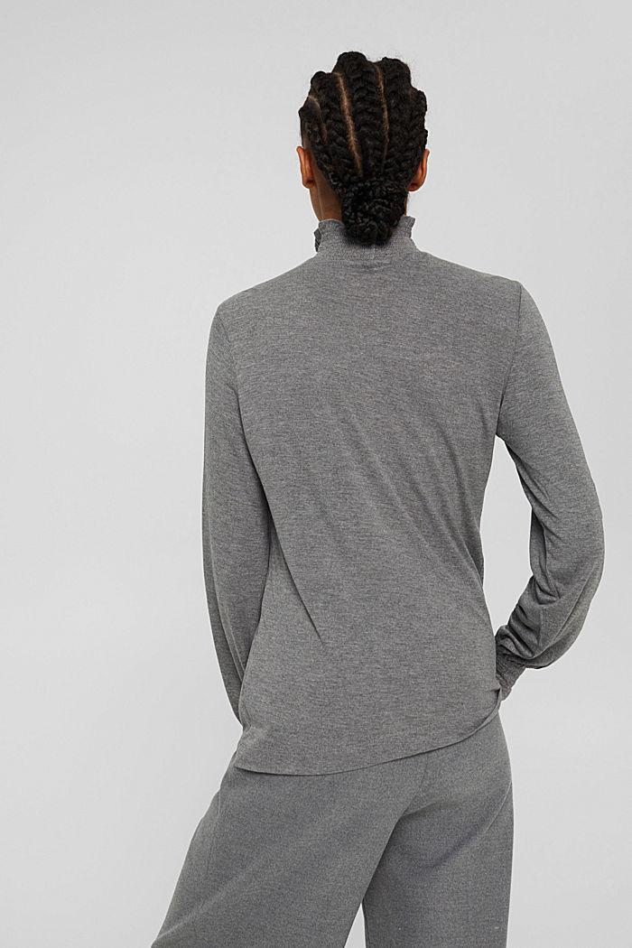 Camiseta de manga larga con volantes, LENZING™ ECOVERO™, MEDIUM GREY, detail image number 3