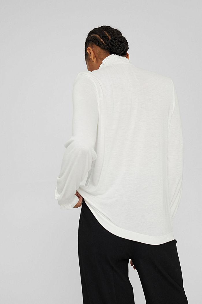 Camiseta de manga larga con volantes, LENZING™ ECOVERO™, OFF WHITE, detail image number 3