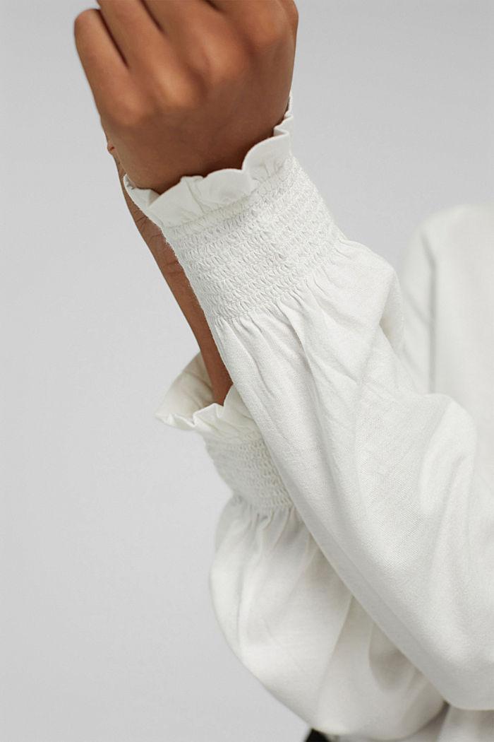 Camiseta de manga larga con volantes, LENZING™ ECOVERO™, OFF WHITE, detail image number 2