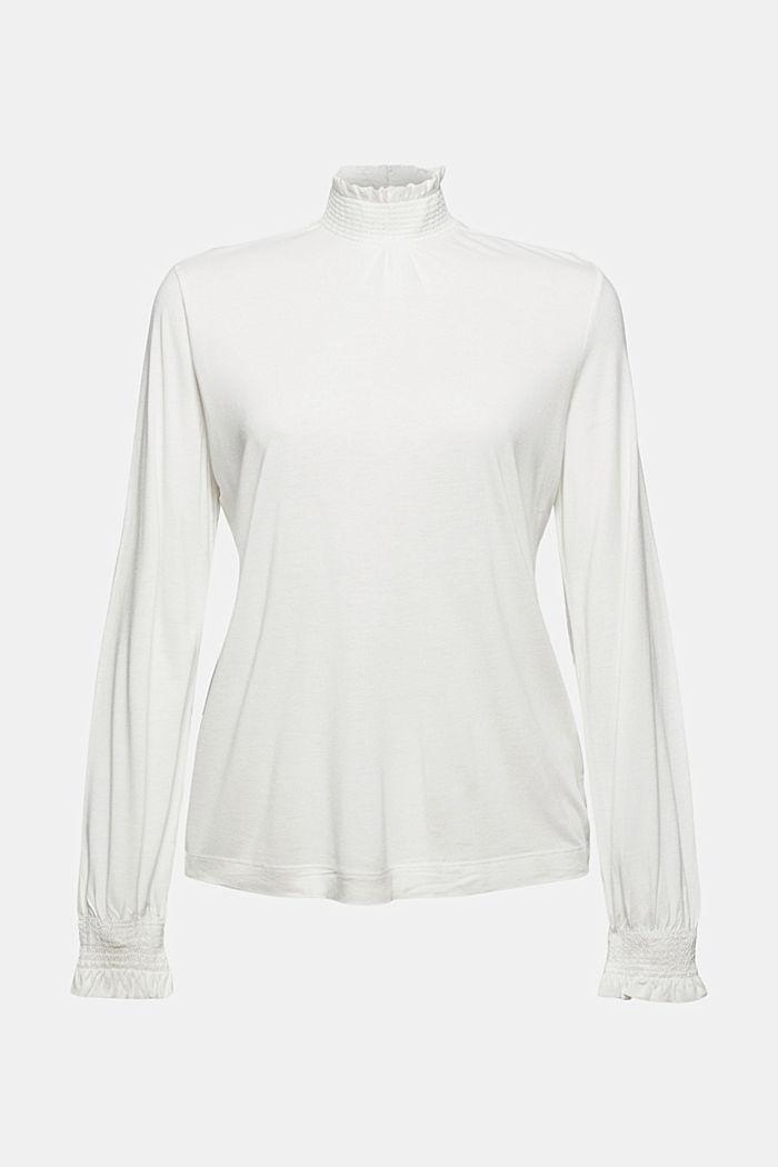 Camiseta de manga larga con volantes, LENZING™ ECOVERO™, OFF WHITE, detail image number 7