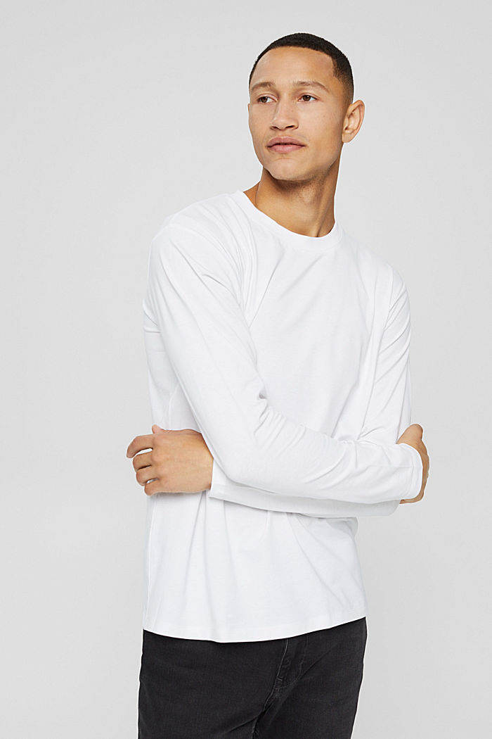 Jersey long sleeve top with COOLMAX®, WHITE, detail image number 0