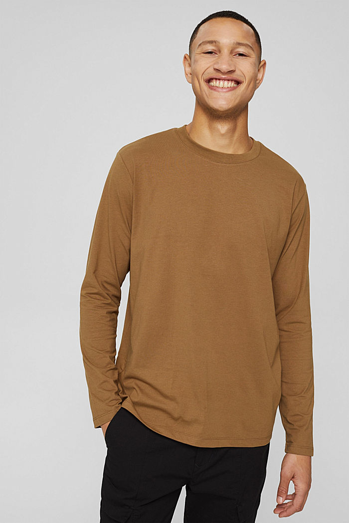 Jersey long sleeve top with COOLMAX®, BARK, detail image number 0