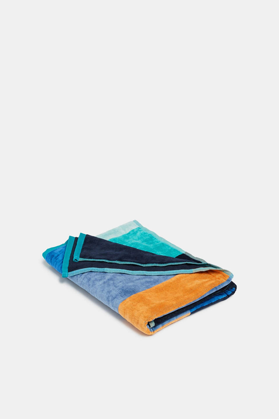 Beach towel with colour block effects, made of cotton, BLUE, detail image number 2