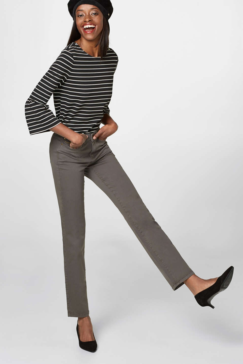Basic stretch cotton trousers