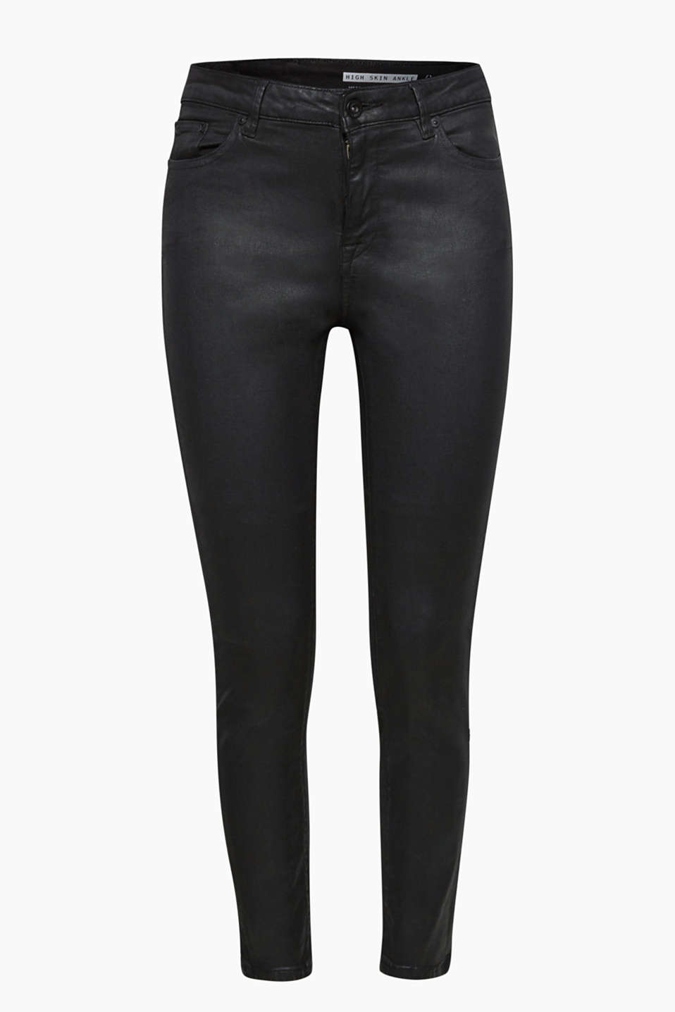 Cool coating: these ankle-length skinny jeans have a slightly shiny finish