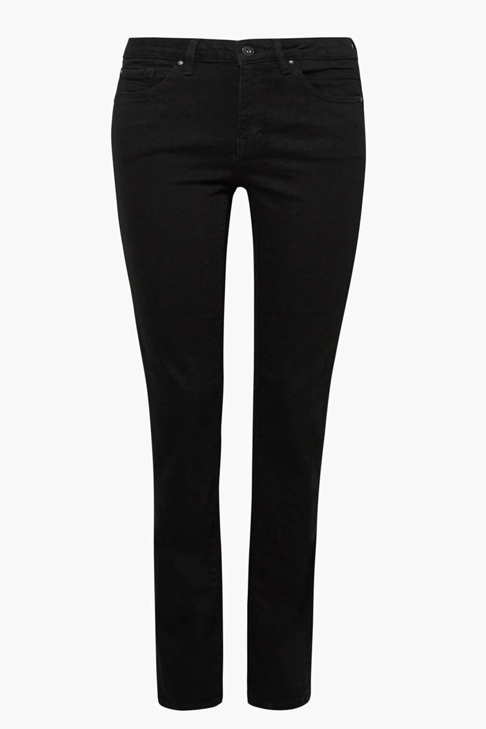 A favourite style for lots of looks: deep black denim jeans in a straight five pocket cut with button-fastening flap pockets.