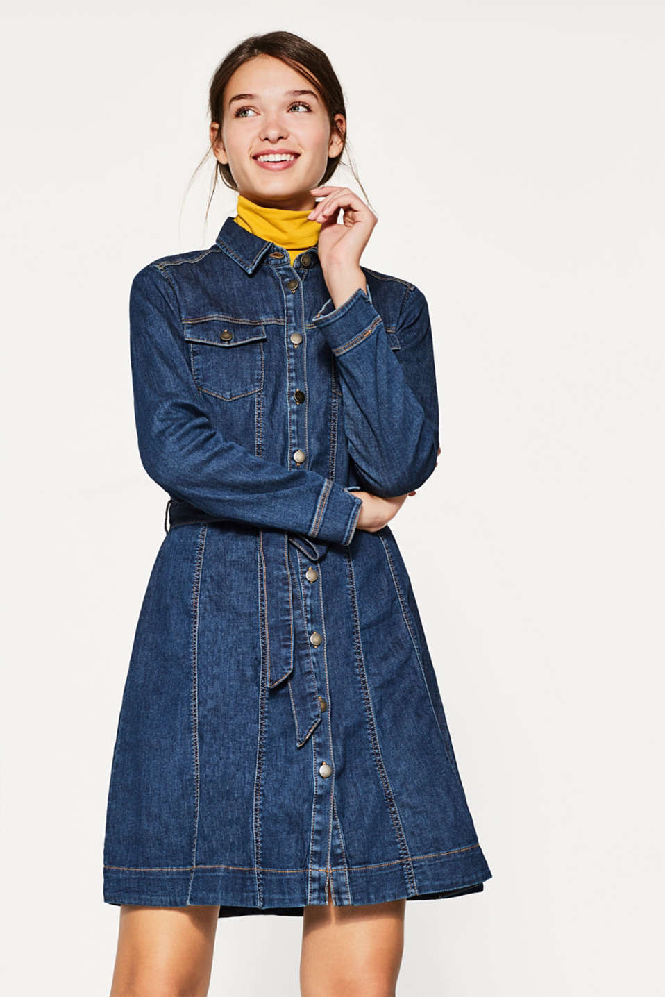 edc - Denim-Kleid aus Baumwoll-Stretch
