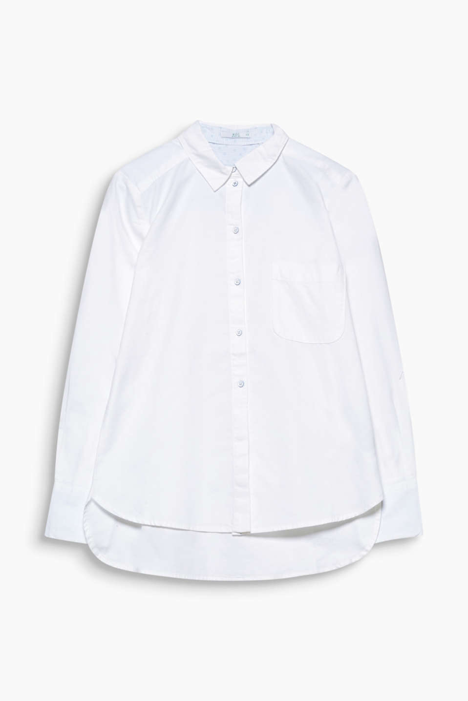 With patterned lining details: classic Oxford shirt blouse made of pure, comfortable organic cotton.
