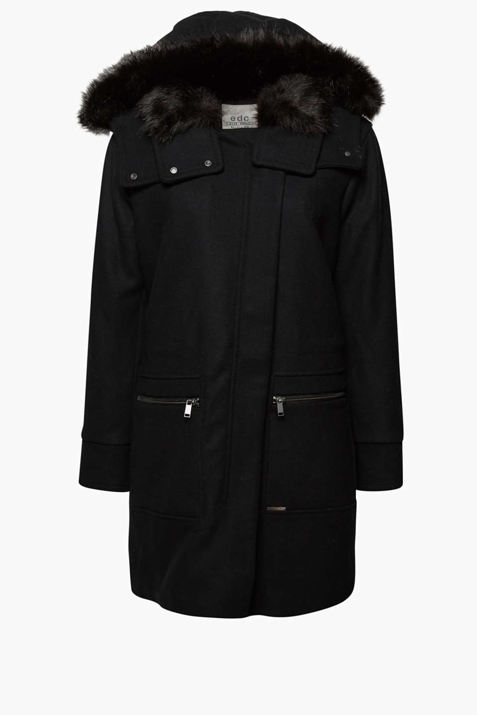 Enhanced with soft faux fur and wool: stylish parka in padded worsted material.