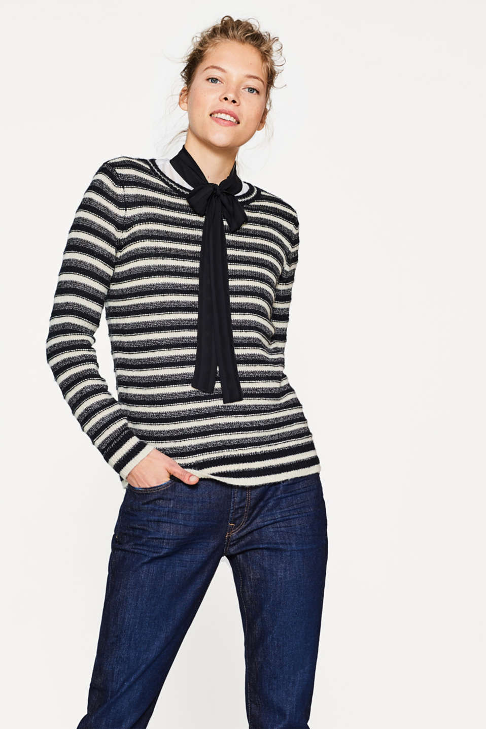 edc - Jumper with glittering stripes