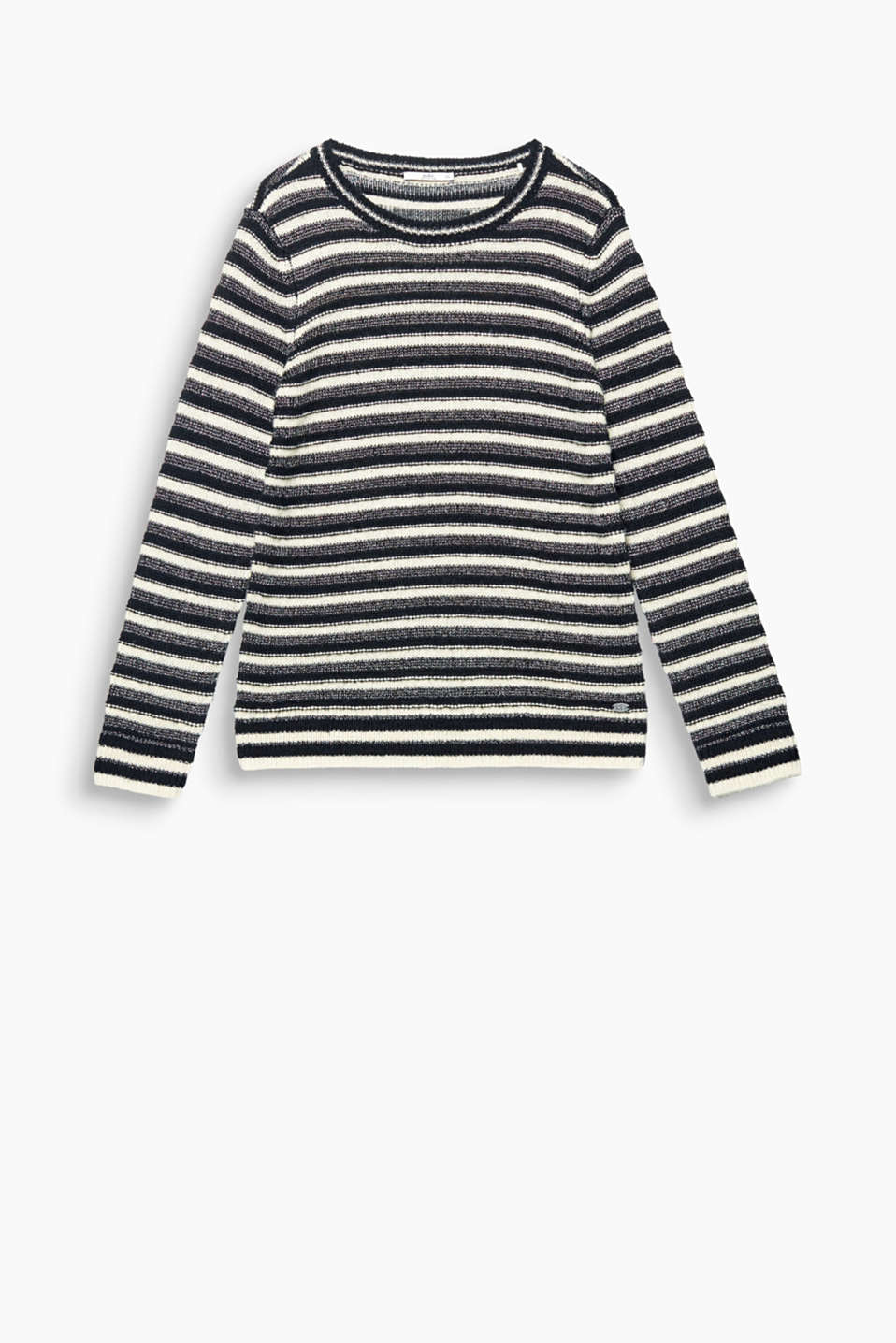 Textured, melange and glittery, this casual jumper proves our striped styles look oh so fresh!