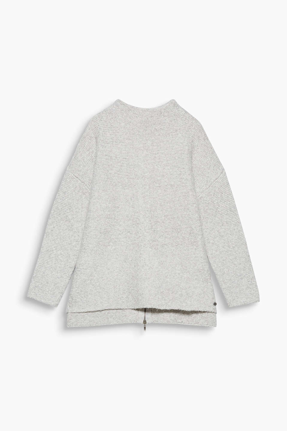 Casual favourite: This melange oversized jumper is bound to impress with its stand-up collar and zip at the back!